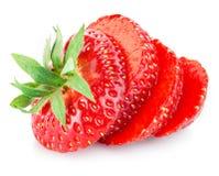 Tranches de fraise d'isolement sur le blanc Photo stock