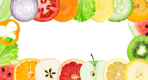 Tranches de fruit frais et de légume Image libre de droits