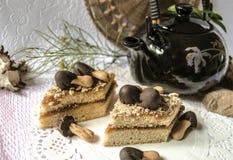 Tranches de gâteau de biscuit avec des champignons de chocolat Photos stock