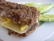 Tranches de pain avec du fromage et le concombre Photos stock