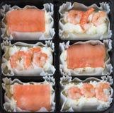 Tranches de pain de poissons Image stock