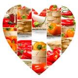 Tranches de préparation de poivre Photo stock