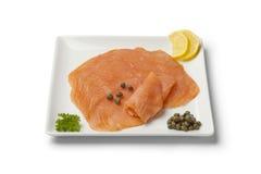 Tranches de saumons fumés Photos stock