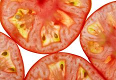 Tranches de tomate d'en haut Images libres de droits