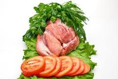 Tranches de viande crue Images stock