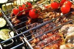 Tranches et courgette de viande Photos stock