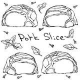 Tranches et herbes de bifteck de porc de rangée Griffonnage de vecteur ou croquis tiré par la main de style de bande dessinée d'i Photos libres de droits