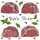 Tranches et herbes de bifteck de porc de rangée Griffonnage de vecteur ou croquis tiré par la main de style de bande dessinée d'i Image stock