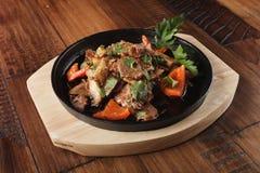 Tranches frites de viande d'agneau Photographie stock