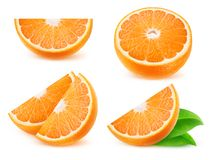 Tranches oranges d'isolement Photographie stock libre de droits