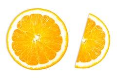 Tranches oranges - d'isolement sur le fond blanc Photos libres de droits