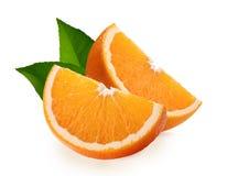 Tranches oranges d'isolement sur le fond blanc photographie stock