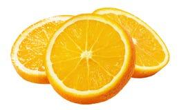 Tranches oranges d'isolement sur le fond blanc Images libres de droits