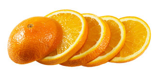 Tranches oranges d'isolement sur le fond blanc Image stock