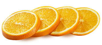 Tranches oranges d'isolement sur le fond blanc Photo libre de droits
