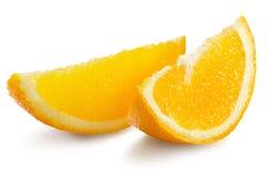 Tranches oranges d'isolement sur le fond blanc Photos libres de droits