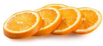 Tranches oranges d'isolement sur le fond blanc Photos stock
