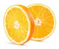 Tranches oranges d'isolement sur le fond blanc Photo stock