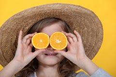 Tranches oranges pour des yeux Photos libres de droits