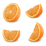 Tranches oranges réglées d'isolement sur le fond blanc Photos libres de droits