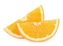 Tranches oranges sur le blanc photo stock