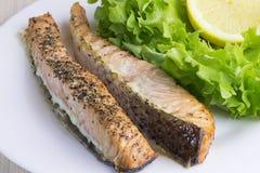 Tranci di pesce di color salmone pronti, cucinati, fritti, al forno immagine stock