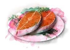 Trancio di pesce rosso fritto sullo schizzo del piatto Fotografia Stock Libera da Diritti