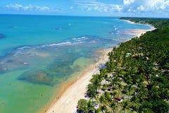 Trancoso, Bahia, Βραζιλία: Άποψη της όμορφης παραλίας με το νερό κρυστάλλου και τη φυτεία του δέντρου καρύδων στοκ εικόνα