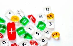 Tranculucent guziki kalkulator z liczbami zdjęcie royalty free
