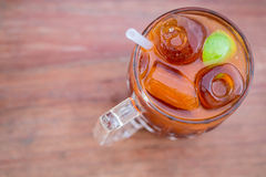 Tranditional Ice lemon tea on wooden table Stock Images