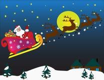 Traîneau de vol avec Santa Claus et des cerfs communs Carte de Noël avec le traîneau de vol avec Santa Claus et des cerfs communs Image libre de droits