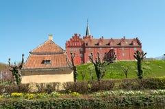 Tranekaer slott i ön Langeland arkivbild