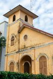 TRANG,泰国- 2018年6月6日:关闭历史的基督教会大厦年龄100岁在Trang区,董里泰报 免版税图库摄影