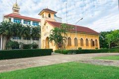 TRANG,泰国- 2018年6月6日:关闭历史的基督教会大厦年龄100岁在Trang区,董里泰报 免版税库存照片