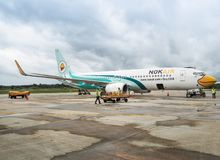 Aircraft of Nok Airlines waiting for passengers stock photography