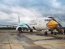 Aircraft of Nok Airlines waiting for passengers royalty free stock photography