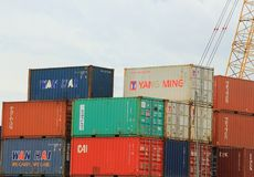 Trang, Thailand - August 20, 2017 Containers at sea port of Kantang River Stock Image