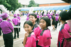 Trang, Thailand - June 23,2017 : Student girls and orchestra enjoy activity on sports day at public ground in Trang Thailand royalty free stock photo