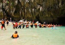 TRANG, THAILAND - 11. JUNI: Emerald Cave oder Morakot Cave im Juni Lizenzfreie Stockfotografie