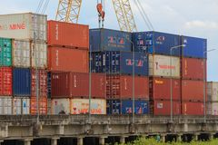 Trang, Thailand - March 25, 2017: container at sea port of Kantang River Stock Images