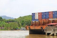 Trang, Thailand - March 25, 2017: container at sea port of Kantang River Royalty Free Stock Images