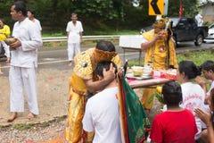 Chinese god Monkey King spiritual medium blessing people during vegetable festival in Trang,. Trang, Thailand - October 15, 2018: Chinese god Monkey King stock photos