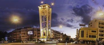 TRANG, THAILAND - SEPTEMBER 20, 2018: Old clock tower. TRANG, THAILAND - SEPTEMBER 20, 2018: Old clock tower, a landmark at the heart of trang province. Trang stock images