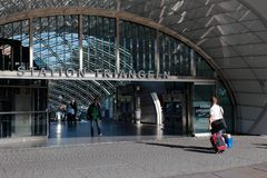 Trangeln railroad station entrance Royalty Free Stock Photo