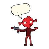 étranger de bande dessinée avec l'arme à feu de rayon avec la bulle de la parole Image stock