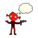étranger de bande dessinée avec l'arme à feu de rayon avec la bulle de pensée Image libre de droits