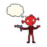 étranger de bande dessinée avec l'arme à feu de rayon avec la bulle de pensée Images stock