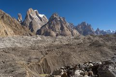 Trango tower family in Karakoram range, K2 trek, Pakistan Royalty Free Stock Photo