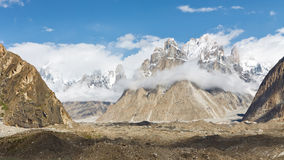 Trango Towers and Baltoro Glacier Royalty Free Stock Photo