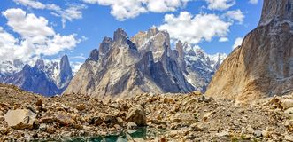 Trango towers and glaciers in the karakoram mountains. Towers offer some of the largest cliffs and most challenging rock climbing in the world situate in the stock image